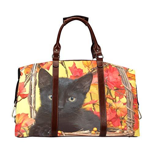 Borse moda Fuzzy Black Kitten In cestino di vimini di zucca con Y Classic oversize impermeabile in pelle PU Borsa da viaggio Borsone da viaggio Borsa da viaggio