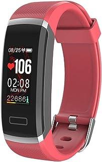 AIFB Pulsómetro Pulsera Inteligente, Pantalla a Color podómetro calorías Impermeable Monitor de sueño Fitness Tracker Notificaciones Inteligentes para Android iOS Phone,Orange-OneSize