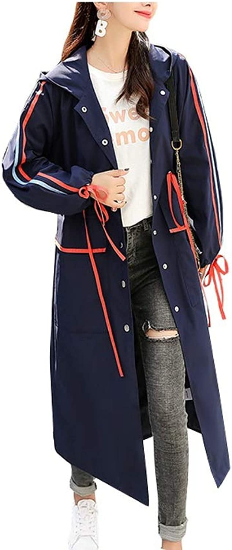 LHHJ Coat Polyester Hooded Ladies Long bluee Jacket