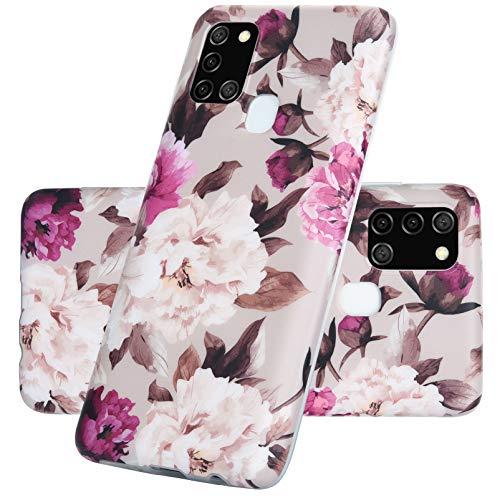 Vogu'SaNa Kompatible für Handyhülle Samsung Galaxy M21/M30S Hülle Blumen Silikon Matt Marble Muster Hülle Cover Weiche Tasche Dünn Schutzhülle Handytasche Skin Softcase Schale Bumper TPU Etui-Blume4