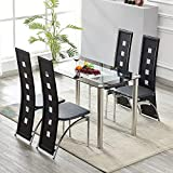 LUXES Set of 4 Dining Chairs with Metal Legs Black High Back Faux Leather Dining Chairs Kitchen Dining Room Furniture, 48x43x110cm, Black