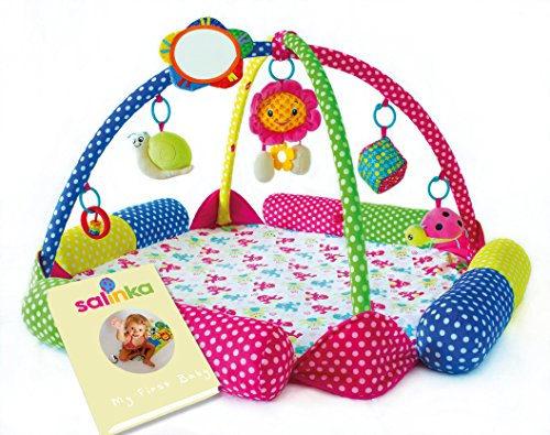 Salinka - Gimnasio de juegos con actividades para bebés - Alfombra de juegos para bebés en edad de gatear de calidad superior - Probado de conformidad con las normas europeas EN71 y EN62 115 - Sin ftalatos ni plomo - Libro electrónico de regalo