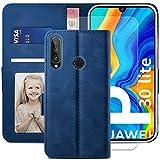 YATWIN Cover Huawei P30 Lite con Vetro Temperato, Flip Custodia in Pelle Premium Portafoglio Huawei P30 Lite New Edition, Chiusura Magnetica Cover Libro Huawei P30 Lite / P30 Lite New Edition - Blu