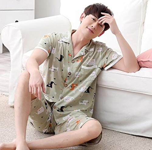 Sommer 100% Baumwolle Paar Pyjamas Set Süße Cartoon Kurzarm Bequeme Strickjacke...