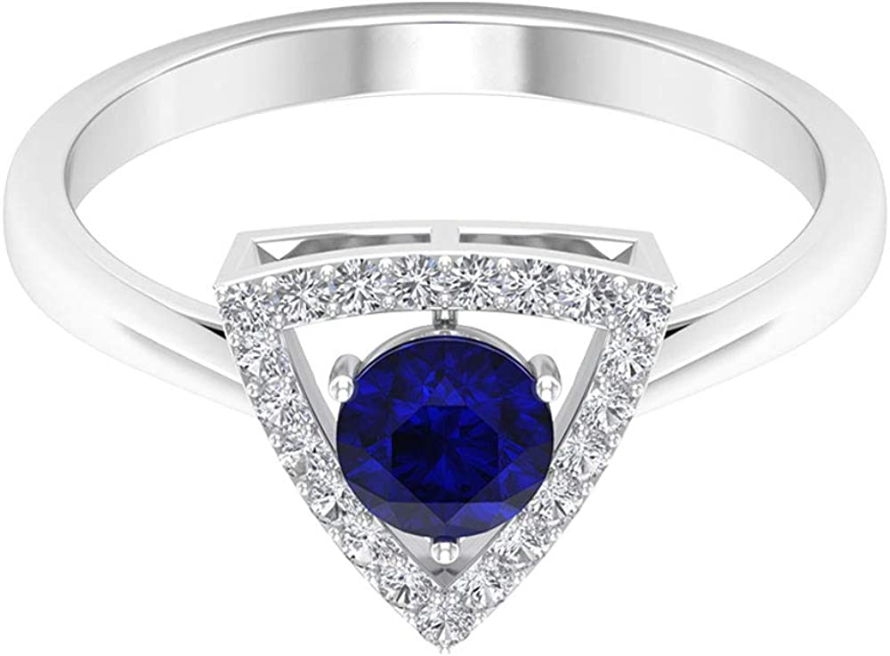 0.65 Ct Solitaire Blue Sapphire Lab Created Gold Ring, 0.16 Ct SGL Certified Diamond Halo Bridal Ring, Statement Triangle Women Ring, Classic Gemstone Gold Ring, 14K Gold