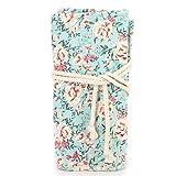 Floral Print Pencil Bag Canvas Holders Paint Brush Roll Up Wrap Curtain Pen Storage Pouch Case Large Capacity