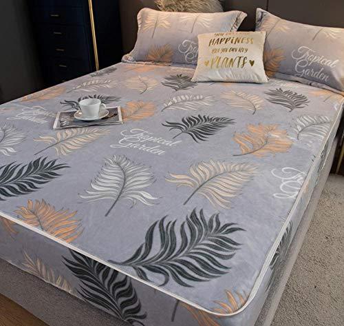 XLMHZP Protector de colchón impermeable de alta calidad, sábana bajera ajustable de franela, funda de colchón Queen, bolsillo profundo suave acolchado acolchado colchón Topper-A_90x200cm+30cm