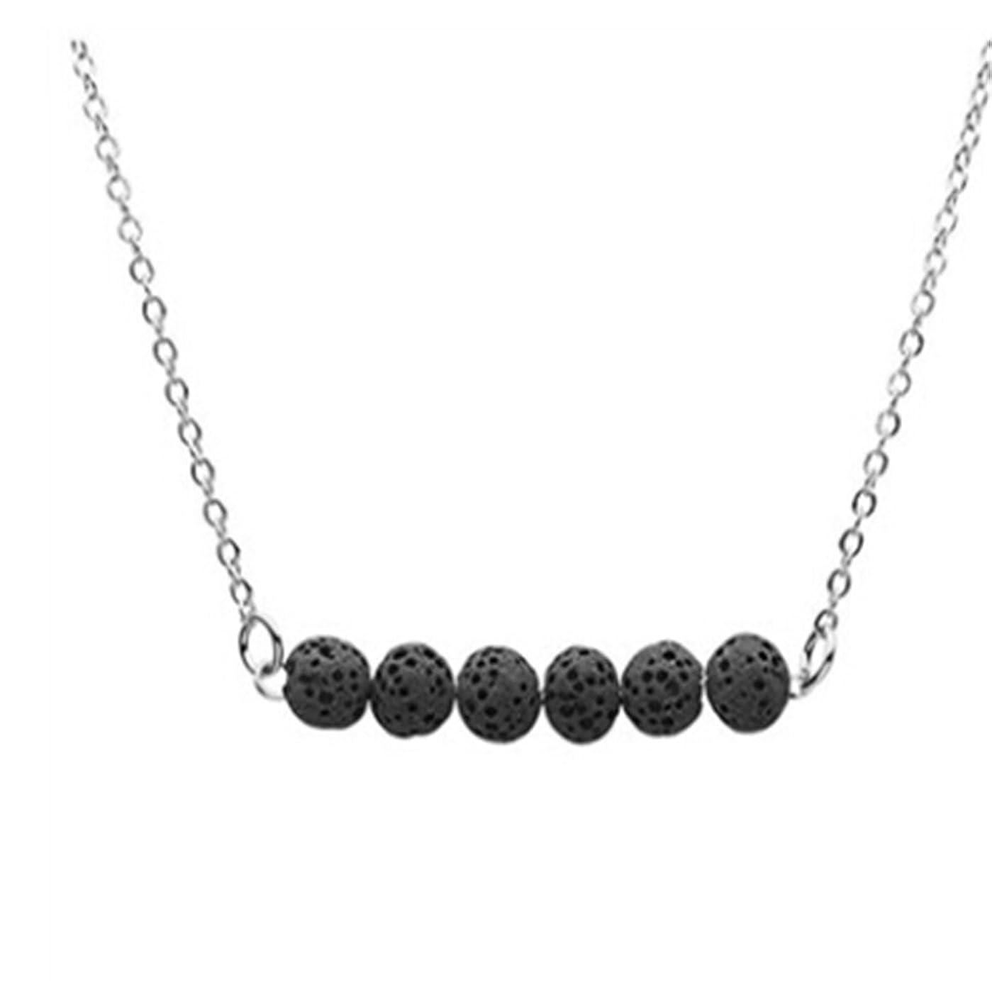 かすれた迷彩隔離cianowegy Simple Tinyラバストーンネックレス、Essential Oil Diffuserネックレスwith Lava Stone?–?ステンレススチール ブラック