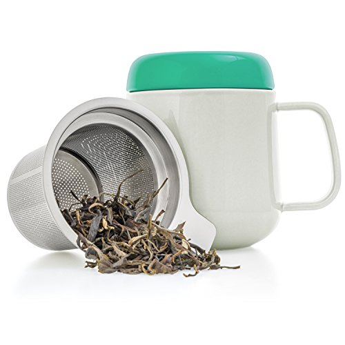 Tealyra - Sumo Ceramic Tea Cup Infuser - 13.5-ounce - Small Mug with Lid and Stainless Steel Filter...