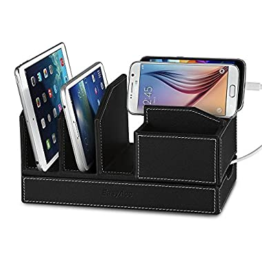 EasyAcc Single-deck Multi-device Charging Organization Station Docks Stand for Smart Phones note 9 iphone x and iPad Tablets iPhone X/8/8 Plus Samsung Galaxy S8/S8 Plus Black Pu Leather