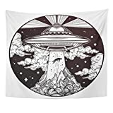 Emvency Tapestry Alien Spaceship UFO Flying Saucer Abducting Human Conspiracy Theory Home Decor Wall Hanging for Living Room Bedroom Dorm 50x60 inches