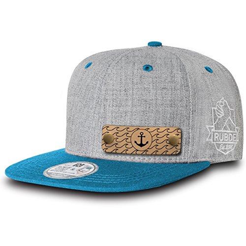RUBDE Cap2 | Individuelle Snapback Cap Basecap Kappe mit Lederpatch, NFC-Sticker und QR-Code Größen - personalisierbar | Unisex - Herren Damen Kinder Kids | Ocean Blau M