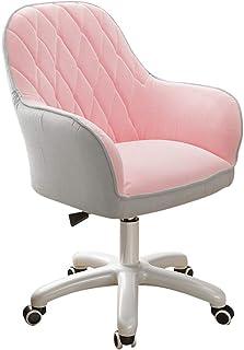 Silla escritorio ufficio ergonomica Silla de ocio con acento de terciopelo, silla de escritorio acolchada con respaldo medio, giratoria de 360 °, silla de trabajo giratoria ajustable en altura, m