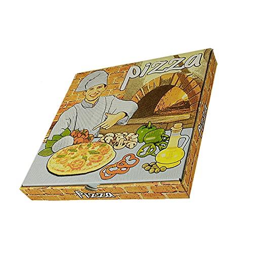 CEPEDANO -【100 Unidades】Caja de Pizza de Cartón Diseño Italiano Microcanal 260x260x35mm cajas de Pizza para llevar