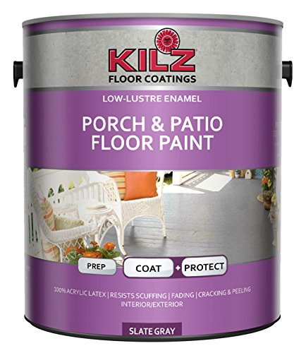 KILZ Interior/Exterior Enamel Porch & Patio Latex Floor Paint, Low-Lustre, Slate Gray, 1 gallon