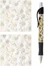 Pen and Sticky Note Pads - Stationery Gift Set - Floral Flower Design Theme - Paper Memo Office Business School Supplies (Daisies)