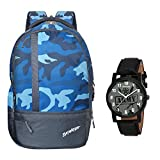 Baywatch 25 Litre Army Printed Unisex Polyester Casual Laptop Backpack (Blue) & Voyageur Analog...