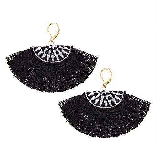YAZILIND Joyas artesanales Vintage bohemio bordado en forma de abanico pendientes finas...