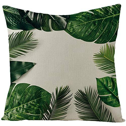 Socoz Funda de almohada dorada con diseño de hojas de palmaa, color verde
