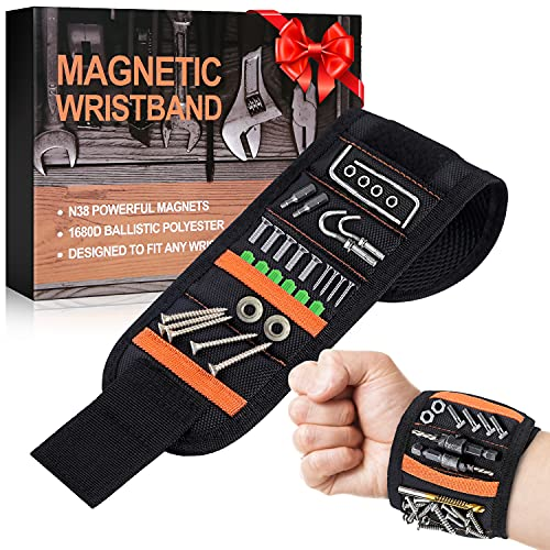 Magnetic Wristband,Edobil Magnetic Wrist Tool Holder with 15 Strong Magnets Holding Screws,Nails,Drill,Bits Magnetic Gadget for Father Gifts,Handyman Gifts for Men (Black)