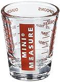 Mini-Messbecher, Schnapsglas-Größe, robustes Glas, Vielseitig, für Flüssigkeiten und Trockenstoffe, 26 Maßangaben für Teelöffel, Esslöffel, Unzen und milliliter Rot 1 ounce rot