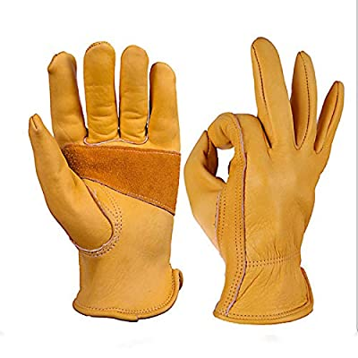 Mens Leather Work Gloves Tough Cowhide Garden Glove Extremely Soft And Sweat-Absorbent Insulated Work Gloves For Gardening/Industrial Production/Construction(Small)