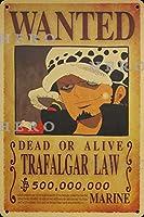 海賊アニメTRAFALGAR LAWトラファルガー・ロー さびた錫のサインヴィンテージアルミニウムプラークアートポスター装飾面白い鉄の絵の個性安全標識警告バースクールカフェガレージの寝室に適しています