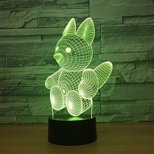 KangYD 3D Night Light Animal Lovely Squirrel, LED Optical Illusion Lamp, D - Remote Crack White(16 Color), Art Night Lamp, Modern Lamp, Fashion Light, Visual Lamp, Sleeping Lamp