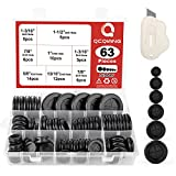 """QCQIANG 63Pcs Rubber Grommet Kit, Drill Hole Firewall Hole Plugs Wire Protection, 6 Sizes 5/8"""" 13/16"""" 7/8"""" 1"""" 1-3/16"""" 1-1/2""""(Round)"""