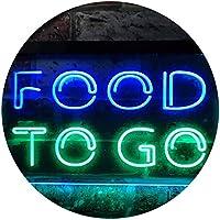 Food to Go Café Dual Color LED看板 ネオンプレート サイン 標識 緑色 + 青色 400 x 300mm st6s43-i0399-gb