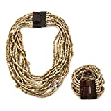 Shop LC Delivering Joy Brown Seed Bead Shell Wooden Buckle Stretchable Bracelet Multi Strand Boho Layered Necklace Fashion Prom Jewelry Sets for Women 18'
