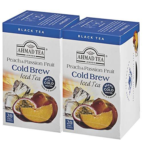 AHMAD TEA ( アーマッドティー ) コールドブリュー ピーチ&パッションフルーツ ティーバッグ 20袋 ×2個 [ 英国ブランド 水出し紅茶 個包装 ]