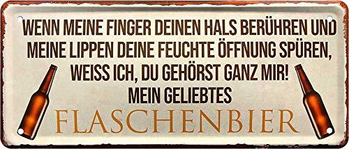 """Blechschilder Bier lustiger Spruch: """"WENN Meine Finger DEINEN Hals BERÜHREN UND Meine Lippen ."""" Deko Metallschild für Bar Theke oder Pub Geschenkidee für Deine Trink & Sauf Freunde 28x12 cm"""