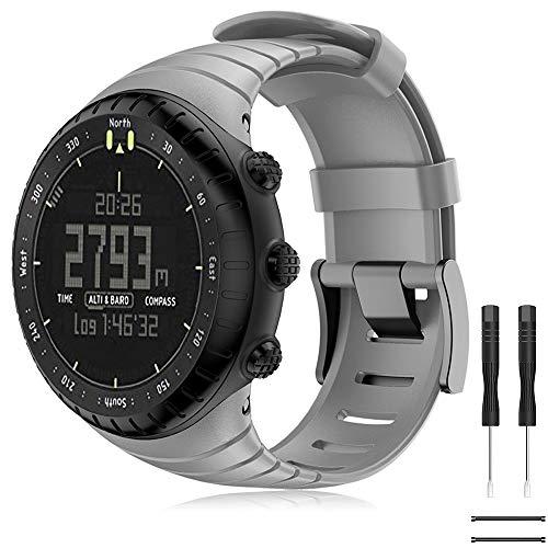 TOPsic Suunto Core Armband - Silikon Sportarmband Uhr Band Strap Erstatzband Uhrenarmband für Suunto Core Samrtwatch (Grau)
