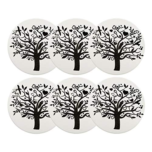 Absorbent Drink Coaster,Yoption Set of 6 Absorbent Tree of Life Coaster with Cork Backing for Drinks,Desktop Protection Prevent Furniture Damage,Table Decorations Cup Mat Holder (Tree of Life, Round)