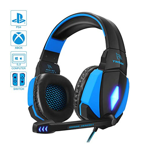 YINSAN Cuffie Gaming PS4, Cuffie da Gioco con Cavo USB Audio Jack da 3,5 mm, Cuffie Over Ear con Microfono Luce LED e Controllo Volume, Gaming Headset per PS4 Xbox One X/S Nintendo Switch PC (Blu)
