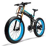 Kaupuar 750PLUS 48V14.5AH 1000W Electric Bike 26''4.0 Fat Tire Electric Bike 27 Speed Snow MTB Folding Electric Bike/Upgrade Double Shoulder Fork (Blue)