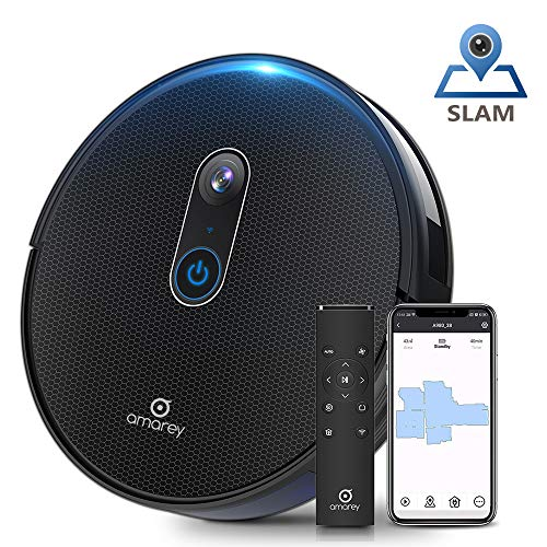 Amarey A980 Robot Vacuum with Vision Mapping Camera - Self-Charging Robotic Vacuum Cleaner Work with Alexa Wi-Fi APP, 1600Pa Strong Suction, 110 min Runtime, for Pet Hair Carpets, 2 Boundary Strip