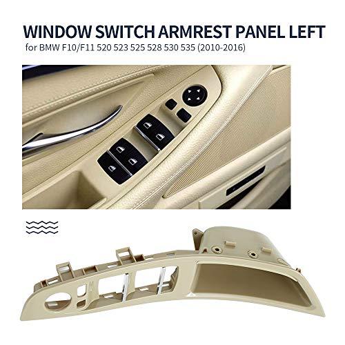 Left Front Door Window Switch Armrest Panel Fit for BMW 5 Series F10/F11 520 523 525 528 530 535 2010-2016(Color Beige)