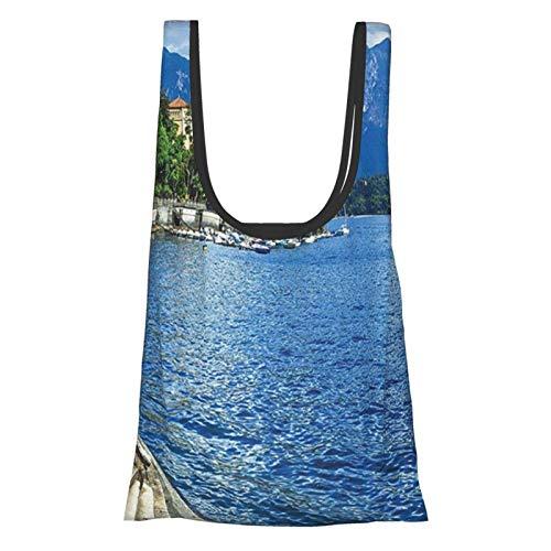 Hdaw Rocky Cliffs Einkaufstasche, Bauernhof-Dekoration, ländlicher See, Como von Rocky Cliffs, Boot im Fluss, Urlaub, Meer, Ufer, Frieden, Blau, wiederverwendbar, faltbar, umweltfreundlich