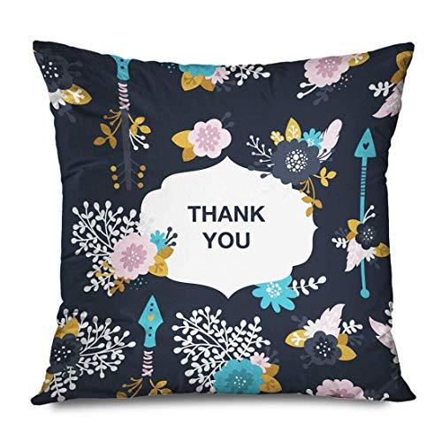 iksrgfvb Throw Pillow Cover 45x45CM Thank You Note Lettering Arrows Nature Border Flowers White Branch Bride Feathers Collec