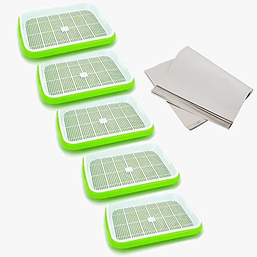 KLLsmDesign Seed Sprouter Tray, Microgreens Growing Kit with Hydroponic Gardening System, Double Layer Wheatgrass Sprouting Kit Nursery Seed Germination Tray for Garden Home Office (5 Packs)