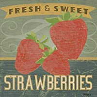 なまけ者雑貨屋 メタルサイン Fresh & Sweet Strawberries ヴィンテージ風 ライセンスプレート メタルプレート ブリキ 看板 アンティーク レトロ