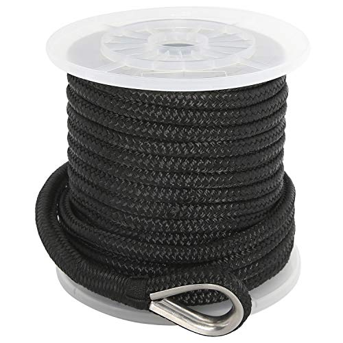 NovelBee 1/2 Inch X 100 Feet Double Braid Nylon Anchor Line with Stainless Steel Thimble and Plastic Chuck (Black)