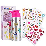 FiGoal Make Your Own Bottle with Assorted Designs Stickers DIY Decorate Your Own Water Bottle for Girls Easter Party Favors 20 oz Kids Water Bottle DIY Art and Craft Set for Children