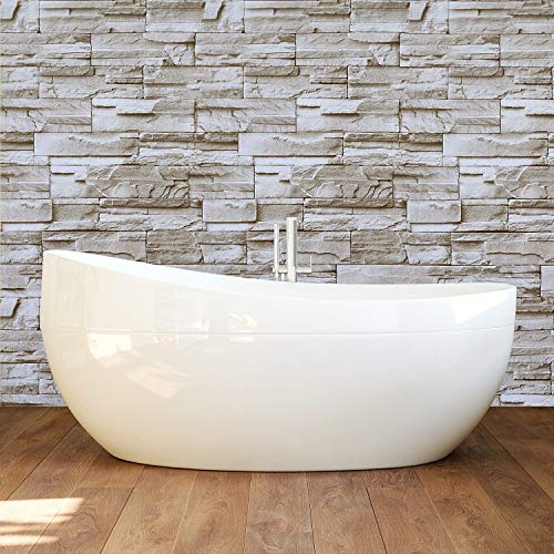 Timeet Stone Peel and Stick Wallpaper 17.7inx16.4ft Self-Adhesive Film Removable Décor Wallpaper,Stacked Stone Wallpaper