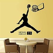 NBA Basketball Sports Star Player Michael Jordan MJ # 23 Layup Slam Dunk Etiqueta de la pared Vinilo Calcomanía para autom...