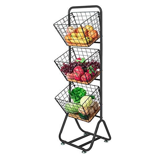 X-cosrack 3-Tier-fruit-Wire-Market-Basket-Stand Kitchen Snack Vegetable Metal baskets Storage Tiered Wire Basket Organizer Free-Standing for Fruit Vegetable Storage Pantry Bathroom Bamboo