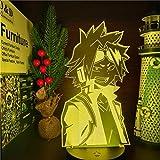 Anime led Lamp Night Light Illusion Light Boku no Hero Academia Denki KAMINARI Lamp 3D for Kid Bedroom Decor Lighting Child Christmas Gift Bedside Birthday Nightlight (16 Colors with Remote)