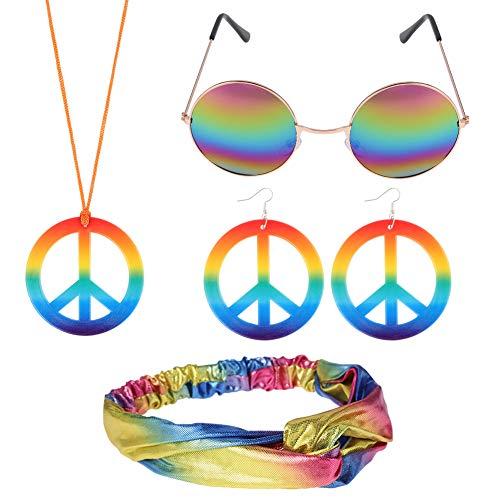 FANTESI Conjunto de Vestuario Hippie, Collar y Aretes de Signo de la Paz, Gafas de Sol Hippie, Diadema de Nudo de Lazo